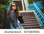 beautiful fashionable stylish... | Shutterstock . vector #437684506