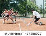 instructor working with group... | Shutterstock . vector #437688022