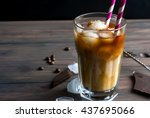 Coffee With Ice In A Glass On ...