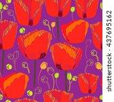 floral seamless pattern. hand...   Shutterstock .eps vector #437695162