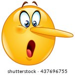 lying face. emoticon with long...   Shutterstock .eps vector #437696755