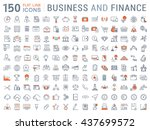 set vector line icons in flat... | Shutterstock .eps vector #437699572