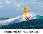 windsurfer rides among the huge ... | Shutterstock . vector #437705656