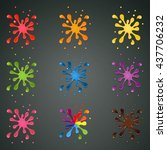 set of colourful paint splashes ... | Shutterstock .eps vector #437706232