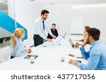 young business people having a... | Shutterstock . vector #437717056