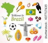 brazil travel banner with icons ... | Shutterstock .eps vector #437717635