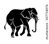 black elephant silhouette on a...   Shutterstock .eps vector #437718076