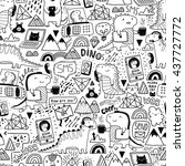 seamless pattern with cute... | Shutterstock .eps vector #437727772