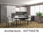 kitchen interior. 3d... | Shutterstock . vector #437744278