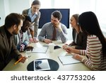 business people consulting... | Shutterstock . vector #437753206