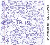 notebook fruits doodle icon... | Shutterstock .eps vector #437786986