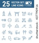 set vector line icons in flat... | Shutterstock .eps vector #437790916