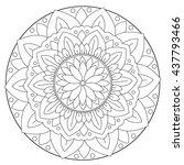 coloring floral leaf mandala | Shutterstock .eps vector #437793466