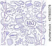 notebook bbq barbecue day... | Shutterstock .eps vector #437800378
