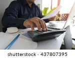 man analysis business accounting | Shutterstock . vector #437807395