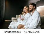 couple enjoying morning tea in...   Shutterstock . vector #437823646