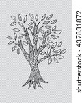 forest tree. sketchy style. | Shutterstock .eps vector #437831872