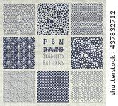 set of nine abstract pen...   Shutterstock .eps vector #437832712