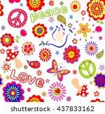 childish seamless wallpaper... | Shutterstock .eps vector #437833162