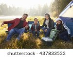 happy family on a camping trip... | Shutterstock . vector #437833522