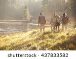 Stock photo five friends on a camping trip walking near lake back view 437833582