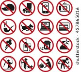 set of prohibited signs and... | Shutterstock . vector #437865016