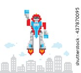 Pixel Art Style Cartoon Flying...