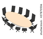 the oval conference table with... | Shutterstock .eps vector #437870506