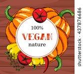vegan food menu background.... | Shutterstock .eps vector #437876686