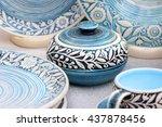 ceramic tableware. painted... | Shutterstock . vector #437878456