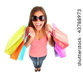 Excited shopping woman in fish eye view isolated on white background. Full length. - stock photo