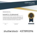 vector certificate template. | Shutterstock .eps vector #437890396