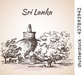 sri lanka   giant stupa ...   Shutterstock .eps vector #437893942