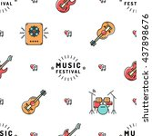 music festival seamless pattern ... | Shutterstock .eps vector #437898676