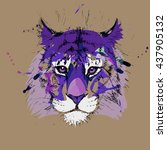 adult tiger graphic  icon ... | Shutterstock .eps vector #437905132