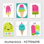 set of cute creative card... | Shutterstock .eps vector #437906698