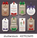 set of vintage tags with silk... | Shutterstock .eps vector #437915695