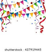 birthday flags with ribbon | Shutterstock .eps vector #437919445