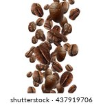 falling coffee beans isolated...