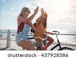 female cycling on a summer day... | Shutterstock . vector #437928586