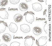seamless lemon pattern with... | Shutterstock .eps vector #437932702