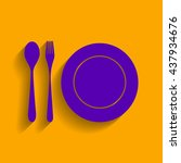 plate with cutlery sign. violet ... | Shutterstock .eps vector #437934676