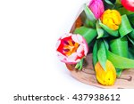 the bouquet of tulips is... | Shutterstock . vector #437938612