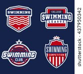 college swimming sport logos... | Shutterstock .eps vector #437950342