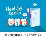 teeth on couch and toothbrush... | Shutterstock .eps vector #437959498