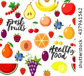 fresh fruits flat style... | Shutterstock .eps vector #437961562