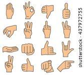 hand gestures. human hands show ... | Shutterstock .eps vector #437972755