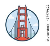 golden gate san francisco... | Shutterstock .eps vector #437979622