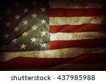 closeup of grunge american flag | Shutterstock . vector #437985988