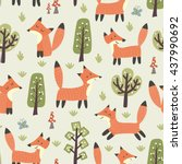 forest seamless pattern with... | Shutterstock .eps vector #437990692